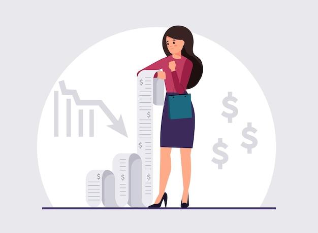 Zdenerwowana kobieta trzyma długi rachunek