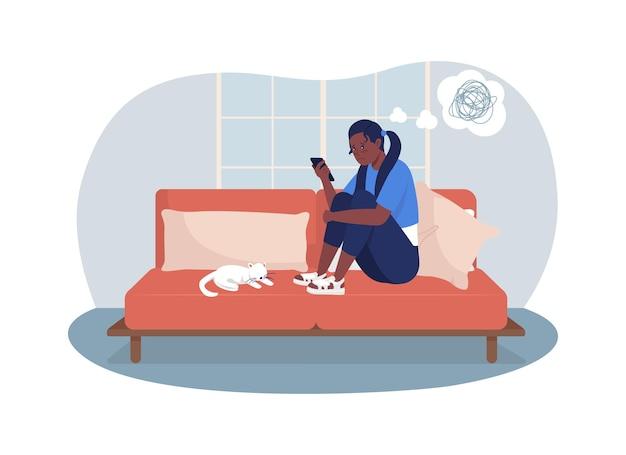 Zdenerwowana nastolatka w domu 2d ilustracji wektorowych na białym tle