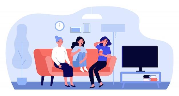 Zdenerwowane kobiety oglądają smutny film