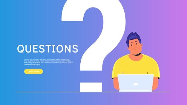 Zdenerwowany i znudzony nastolatek siedzi z laptopem i wielkim symbolem pytania za. ilustracja wektorowa płaski student potrzebuje profesjonalnej pomocy lub porady na temat społeczności. młody człowiek czeka na serwis hepldesk