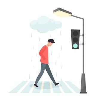 Zdenerwowany mężczyzna przechodzi przez ulicę. smutek i irytacja człowieka.