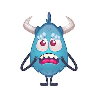 Zdenerwowany niebieski potwór z kreskówek z rogami i chudymi rękami i nogami ilustracją