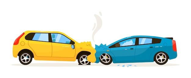 Zderzenie czołowe samochodu. sytuacja problemowa na ilustracji ruchu drogowego. zderzenie czołowe samochodu z urazem zderzaka na białym tle