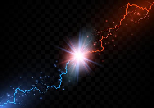 Zderzenie pioruna. kolizja z czerwonym i niebieskim piorunem elektrycznym. w porównaniu z abstrakcyjnym tłem z piorunem. wektor