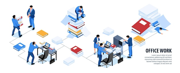 Zdezorganizowane problemy z pracą biurową izometryczny schemat blokowy infografiki z niechlujnymi biurkami koledzy z pracy na ilustracji stosy folderów