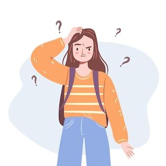 Zdezorientowana dziewczyna młoda kobieta stojąca w zwątpieniu, myśląca o dylematach ilustracja na białym tle nastolatka
