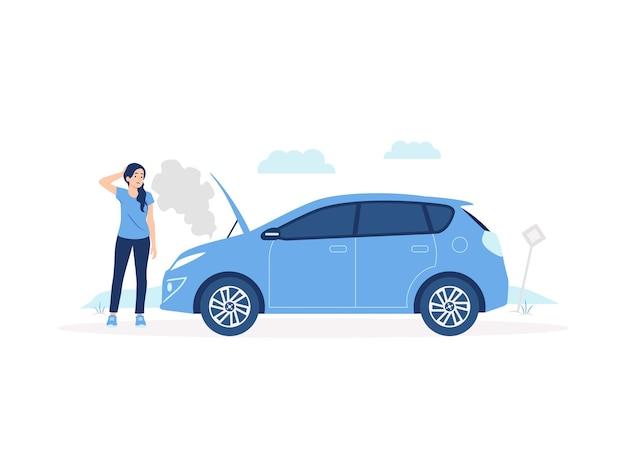 Zdezorientowana kobieta stojąca na poboczu drogi przed swoim zepsutym samochodem z dymem wydobywającym się z ilustracji koncepcji przegrzania silnika