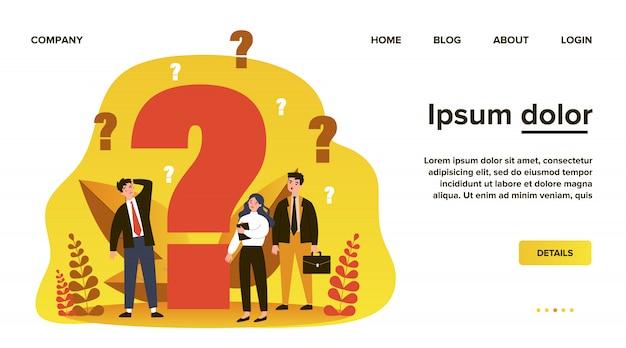 Zdezorientowani biznesmeni zadający pytania. zdziwione postaci z kreskówek szukające odpowiedzi i rozwiązania problemu w pobliżu dużego znaku zapytania. ilustracyjne myślenie, pomoc, pomoc, kłopoty z koncepcją