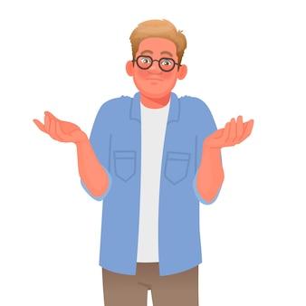 Zdezorientowany mężczyzna wzrusza ramionami gest ups lub nie wiem pojęcie pytania