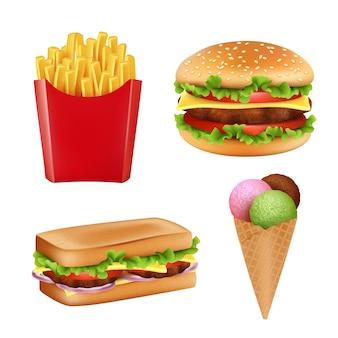Zdjęcia fast foodów. hamburger kanapka frytki lodów i zimnych napojów chleb 3d realistyczne ilustracje na białym tle
