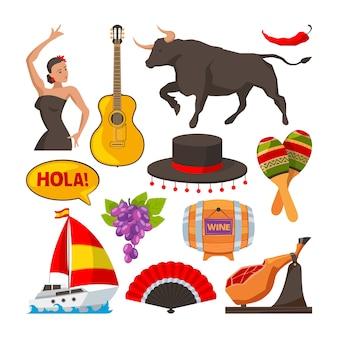 Zdjęcia hiszpańskich obiektów kultury. ilustracje stylu kreskówki izolują. hiszpańska turystyka kulturowa, obiekt wina gitara i jedzenie
