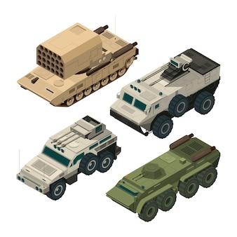 Zdjęcia izometryczne ciężkich pojazdów wojskowych. zestaw zdjęć wektorowych