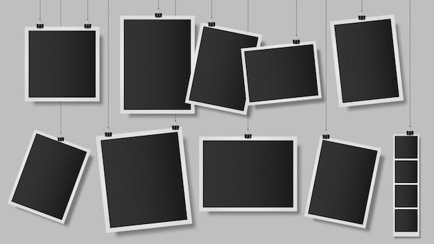 Zdjęcia na klipach. ramka na zdjęcia na ścianie, vintage pusty szablon fotografii, wisząca migawka albumu z notatnikiem. ilustracja wspomnienia fotografii retro. zabytkowe obrazy pamięci