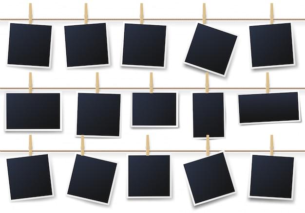 Zdjęcia na spinaczach do bielizny. vintage ramka na zdjęcia wisi na linie, drukowanie fotografii szablon wektor zestaw ilustracji