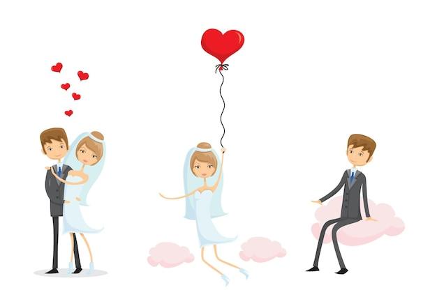 Zdjęcia ślubne, kochaj pannę młodą i pana młodego w stylu doodle