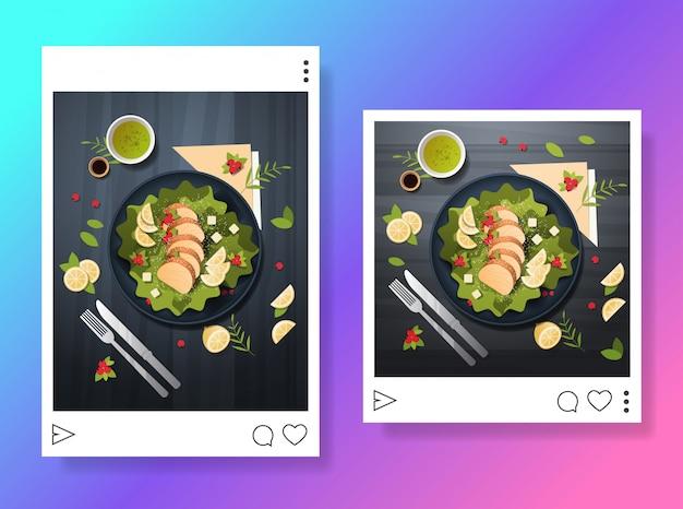 Zdjęcia świeżej sałatki przygotowane danie do blogu blogowanie żywności koncepcja mediów społecznościowych przegląd łowca żywności poziomo