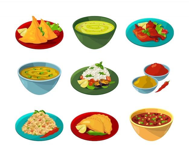 Zdjęcia wektorowe indyjskiej kuchni narodowej