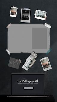 Zdjęcia zespołu muzycznego i kolaż biletów