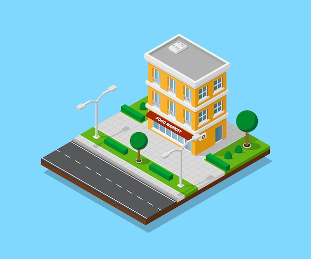 Zdjęcie apartamentu z chodnikami, drogą, drzewami i oświetleniem ulicznym, niskim budynkiem miejskim, ikoną izometryczną lub elementem infografiki do tworzenia mapy miasta