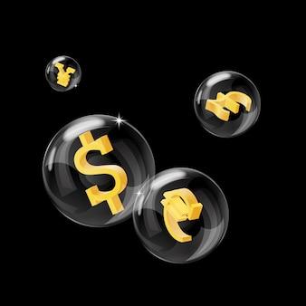 Zdjęcie baniek mydlanych ze znakami walut w środku
