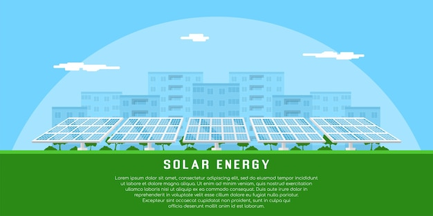 Zdjęcie baterii słonecznych z sylwetką miasta na tle, pojęcie odnawialnej energii słonecznej
