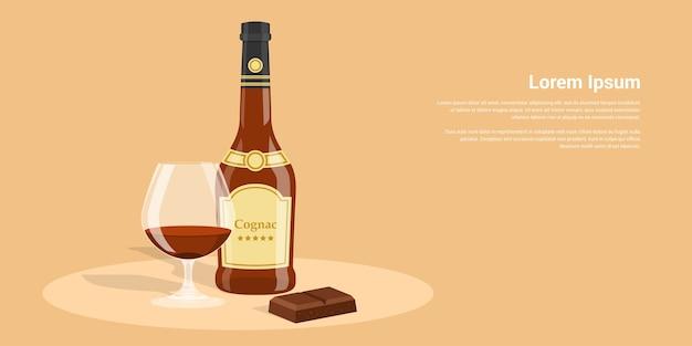 Zdjęcie butelki koniaku, kieliszek koniaku i czekolady, ilustracja styl