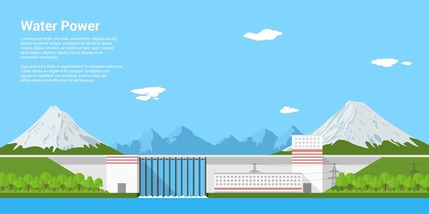 Zdjęcie elektrowni wodnej przed górami, stylowa koncepcja transparentu energii odnawialnej i ekologicznego wytwarzania energii