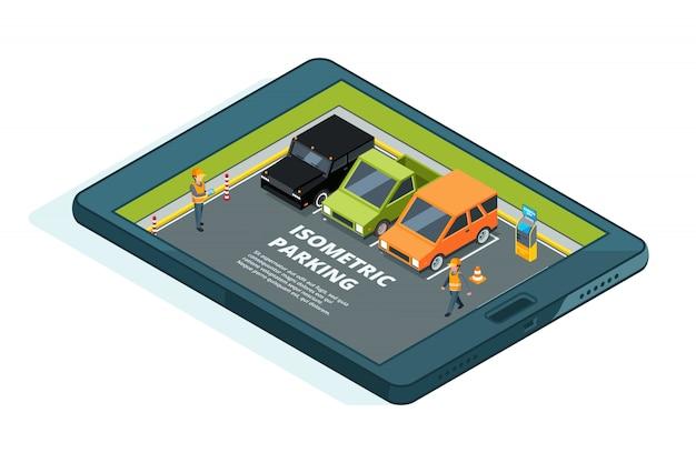 Zdjęcie koncepcyjne płatnego miejskiego parkingu online.