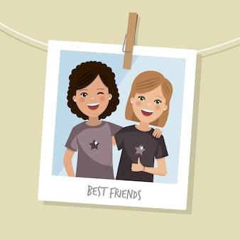 Zdjęcie najlepszych przyjaciół. dwie szczęśliwe dziewczyny uśmiechające się z krótkimi włosami. ilustracji wektorowych