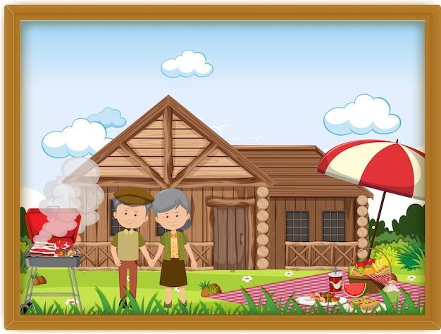 Zdjęcie pary staruszków na pikniku w ramce