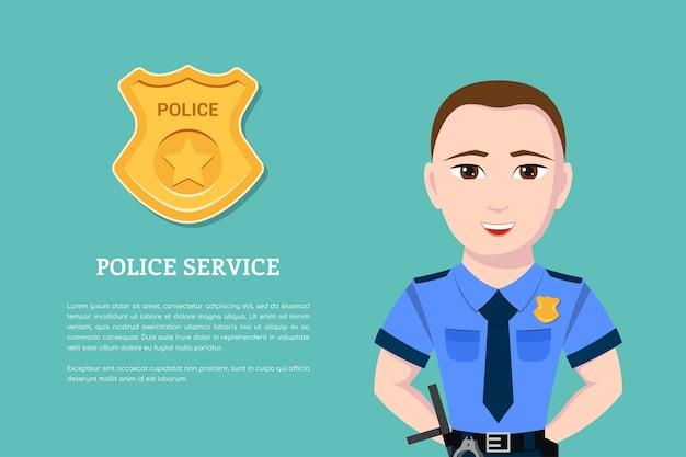 Zdjęcie policjanta z odznaką policji na tle. baner dla policji i koncepcji ochrony prawa.