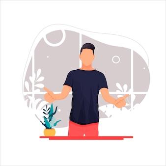 Zdjęcie portret mężczyzny pokazującego kciuk w górę płaska ilustracja