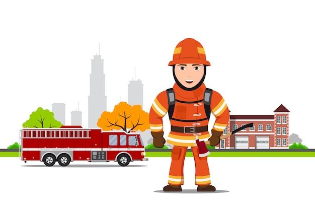 Zdjęcie postaci strażaka z siekierą przed wozem i budynkiem straży pożarnej,