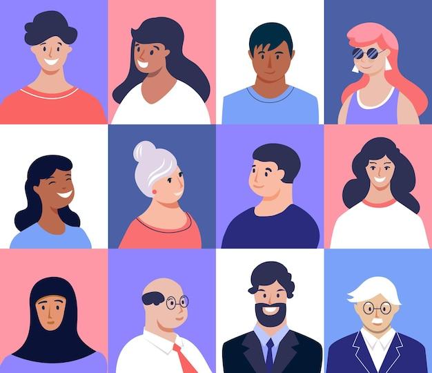 Zdjęcie profilowe. twarze mężczyzn i kobiet. młodzi, seniorzy różnych narodowości. ilustracja wektorowa, płaska konstrukcja.
