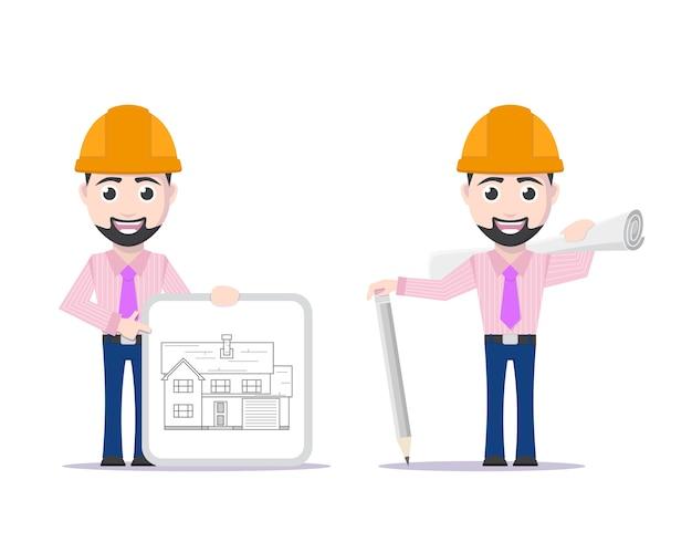 Zdjęcie projektanta z piórem, szyld z projektem domu i papierowym planem