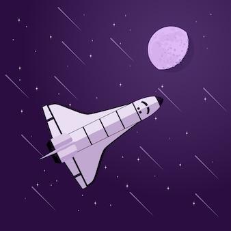 Zdjęcie promu kosmicznego przed księżycem i gwiazdami