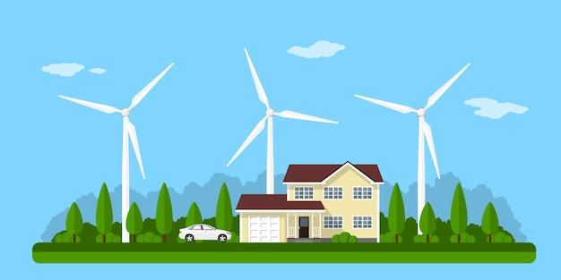 Zdjęcie prywatnego domu, paneli słonecznych i turbin wiatrowych z górami na tle, koncepcja stylu eko domu, energia odnawialna, ekologia