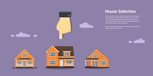 Zdjęcie przedstawiające ludzką rękę szkło i liczbę domów, wybór domu, projekt domu, koncepcja nieruchomości,