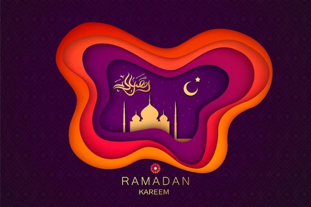 Zdjęcie ramadan kareem koncepcja poziomy baner z islamską geometryczną kwadratową ramą