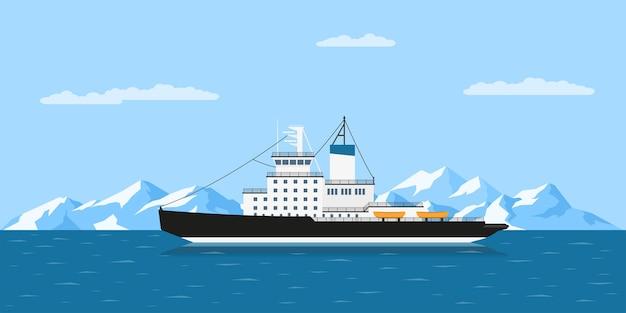 Zdjęcie statku lodołamacza diesla i gór lodowych,