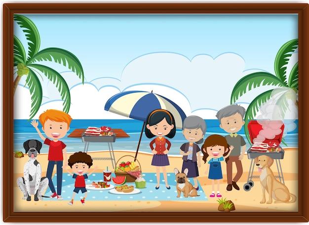 Zdjęcie szczęśliwego pikniku rodzinnego na plaży w ramce