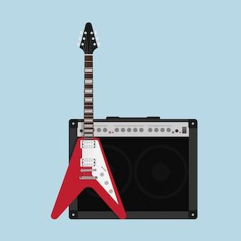 Zdjęcie wzmacniacza gitarowego z głośnikiem i gitarą, styl ilustracji