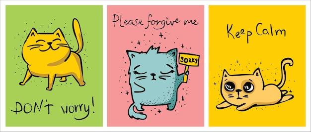 Zdjęcie z gangiem ślicznych kociąt. śmieszne doodle szkic kotów.