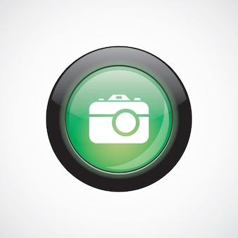 Zdjęcie znak szkła aparatu ikona zielony przycisk błyszczący. przycisk strony interfejsu użytkownika