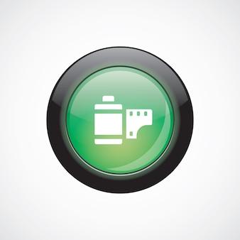 Zdjęcie znak szkła filmowego ikona zielony przycisk błyszczący. przycisk strony interfejsu użytkownika