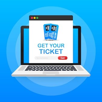 Zdobądź bilet online. koncepcja zamówienia online biletów do kina.