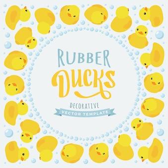 Zdobienie wykonane z żółtych gumowych kaczek