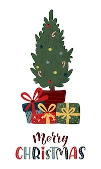 Zdobiona jodła z pudełkami na prezenty, kulkami ozdobnymi i napisem handlettering. wesołych świąt i koncepcji szczęśliwego nowego roku. ilustracja wektorowa w modnym stylu płaski.