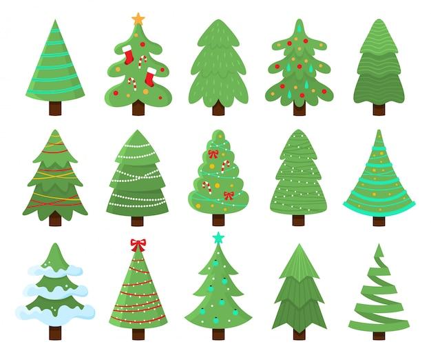 Zdobione choinki. nowy rok drzewo z zwiastunami, zestaw ilustracji wektorowych sosna boże narodzenie w paski
