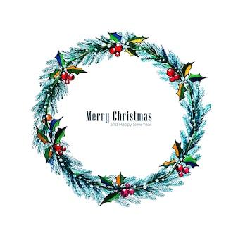 Zdobione tło karty wieniec świąteczny